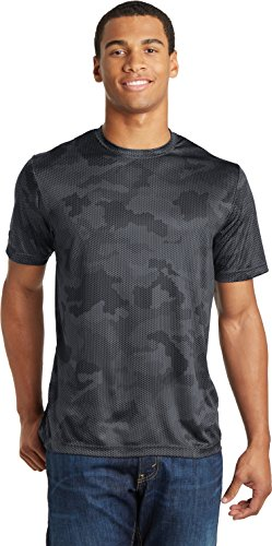 Sport-Tek Mens CamoHex Tee, 2XL, Iron Grey