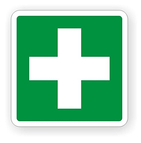 """1 PC Terrific Popular First Aid Car Sticker Sign Industrial Safety Vinyl Badge Emergency Truck Size 4"""" x 4"""" Color White and Green"""