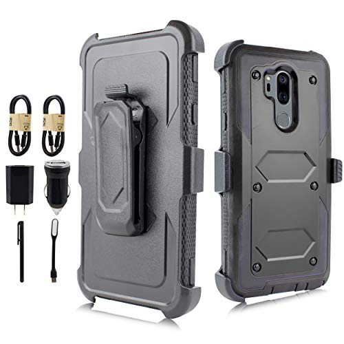 LG G7 Case, LG G7 ThinQ Case, Full-Body Rugged Holster Case Built-in Screen Protector LG G7 2018 Release [Value Bundle] (Black)