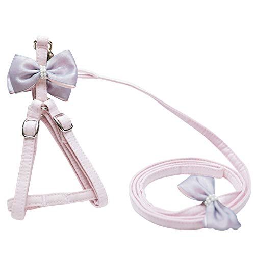 Nordmiex Cat Harness - Pink Stylish Cotton Soft Harness Leash Combo with Removable Bowtie for Puppy Kitty Mini Pig Chicken Duck,Pets Comfortable Small Dog & Cat Harness Leash Set