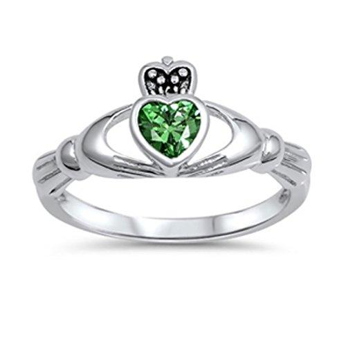 Emerald Set Claddagh Ring - 9