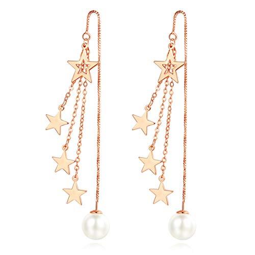 Multiple Stars Tassel Ear Thread Ear Pin Pearl Long Earrings for Women Temperament Simplicity Fashion Rose Gold Earrings