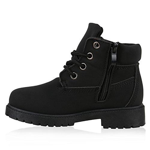 Stiefelparadies Kinder Stiefeletten Glitzer Worker Boots Outdoor Schuhe Bequem Flandell Schwarz Brito