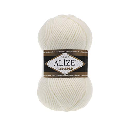 Hand Knitting Yarn Alize LanaGold Yarn for Crochet, Knitting & Crafting Wool Blend Warm Soft Natural Chunky Hand Woven Knitting Crochet Knitwear Wool Lot of 4 skeins 400gr 1048 yds Color 62 Ligh Cream (Acrylic Blend Knitwear)