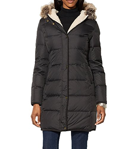 Lauren Ralph Lauren Faux-Fur-Trim Quilted Puffer Coat - Black (M) (Shirt Suede Fully Lined Jacket)