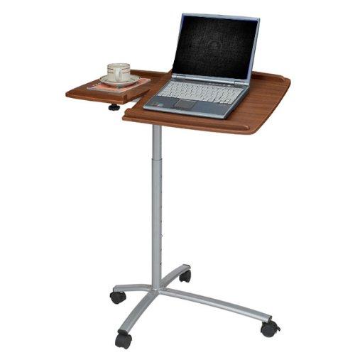 Mahogany Computer Cart - Ergonomic Adjustable Computer Cart Desk - Mahogany