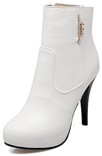 Zipper Stiletto Dressy Round Booties Ankle High White Heel Toe With High Easemax Women's qfgRWwR4