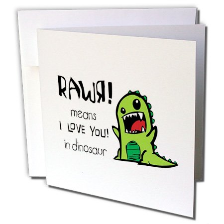 Rawr means I love you in dinosaur - Greeting Card, 6 x 6 inches, single (gc_157446_5)