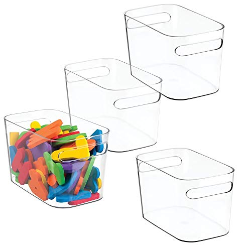 mDesign Plastic Toy Box Storage Organizer Tote Bin with Handles for Child/Kids Bedroom, Toy Room, Playroom - Holds Action Figures, Crayons, Building Blocks, Puzzles, Crafts - 10