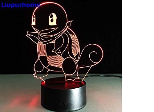 Squirtle Poke Monster 3D LED Nightlight Table Decor Lamp Novelty Night Light Child Gift Pokeball Action Figure ()