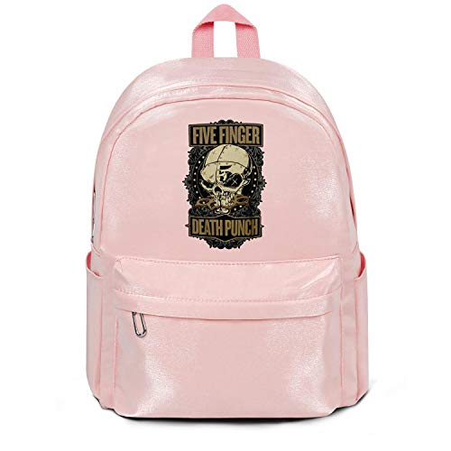 Womens Girl Boys College Bookbag Classic Nylon Packable School Backpack Five-Finger-Death-Punch-CD-Design- College Bookbag Pink