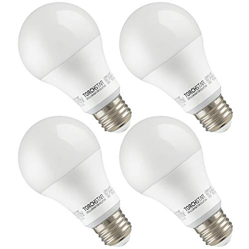 TORCHSTAR Garage Door Opener LED Bulb, 100W Equivalent LED A19 Light Bulb, 1600 Lumens Ultra-Bright 3000K Warm White, Non-Dimmable, Standard E26 Medium Base, UL-Listed, Damp Location Rated, Pack of 4