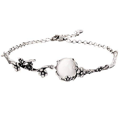 086e0a9d2 925 Sterling Silver Chalcedony Bead Chain Bracelet For Women, Plum Blossom  Flower Engraved Link,