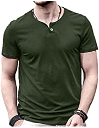 85e62495 Mens Summer Casual Slim Fit Single Button Short Sleeve Placket Plain Henley Top  T Shirts