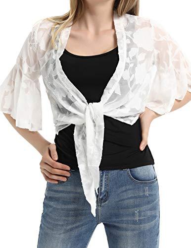 Kate Kasin 3/4 Sleeve Embroidered Coat Cardigan Size XL White KK948-2 ()