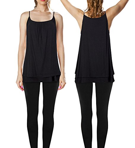 Women's Plus-Size Soft Cotton Loose Tank Top with Flowy Pleated Hem, Black, 3XL