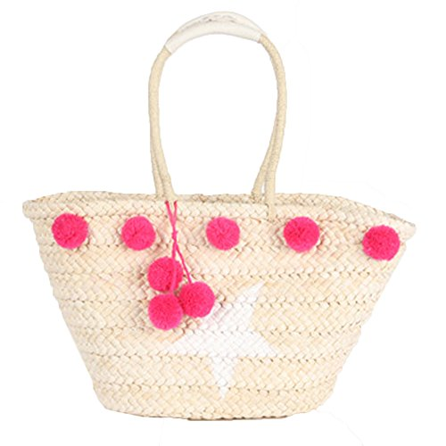 Beach Tote Bag Handmade Straw Woven with Pom Pom and Star for Women and Girls (Pink)
