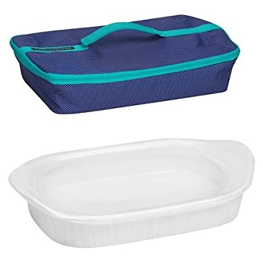 New CorningWare® French White 3 qt Portable Rectangular Baker w/ Blue Carrier