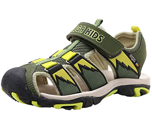 DADAWEN Boy's Girl's Outdoor Athletic Strap Breathable Closed-Toe Water Sandals (Toddler/Little Kid/Big Kid) Green/Yellow US Size 13 M Little ()