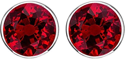 1 Carat t.w. Ruby Halo Diamond Earrings Pair 18K White Gold Push Back (Ruby And Diamond Earrings 18k White Gold)