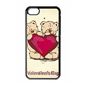 iPhone 5c Black Cell Phone Case HUBYLW2971 Heart Pattern Hard Phone Case Covers