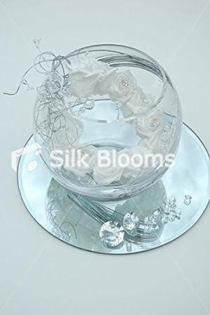 Mesa arreglo y pecera grande - blanco espiral de rígida de cristal con diseño de rosas: Amazon.es: Hogar