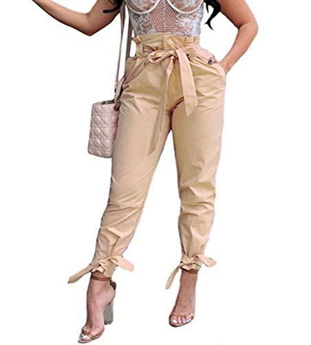 FOYUN Women Casual Ruffle High Waist Pencil Slim Pants with Bow Tie Belt (S, Khaki-1)