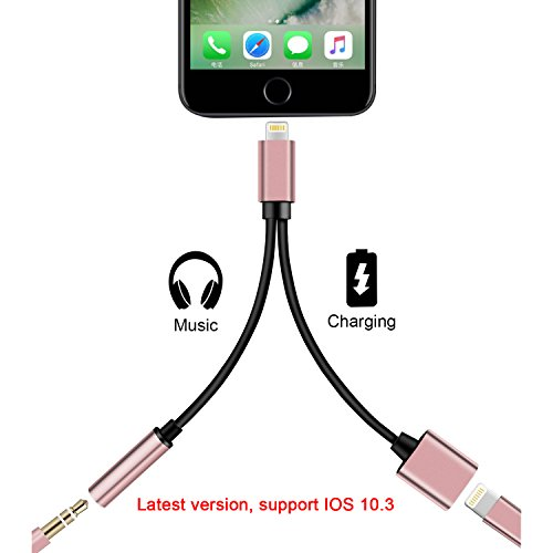 DOESIT 2 in 1 Lightning iPhone 7 Adapter,3.5mm Audio Adapter and Charger Cable,Supports IOS 10.3
