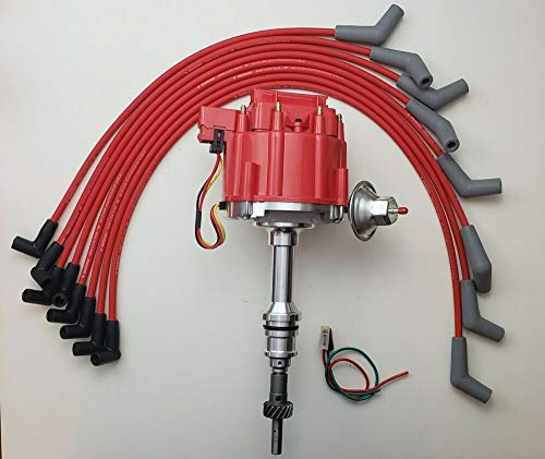 HEI Distributor + RED Spark Plug Wires, COMPATIBLE WITH FORD 5.0L 302 EFI to Carb Conversion (Best Carb To Efi Conversion)