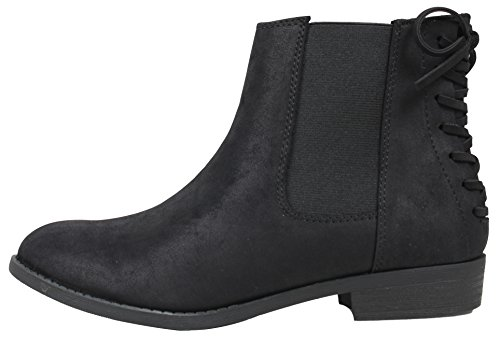 City Classified Women's Chelsea Elastic Side Back Lace Tie Low Heel Ankle Boot (Black, 7.5 B (M) (Back Lace Boots)