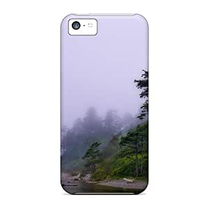 For Iphone 5c Premium Tpu Case Cover Rain On A Beach Of Redwoods Protective Case