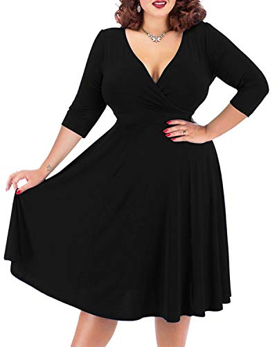 Nemidor Women's V-Neckline 3/4 Sleeve Stretchy Casual Midi Plus Size Bridesmaid Dress (14W, Black+Sleeve)