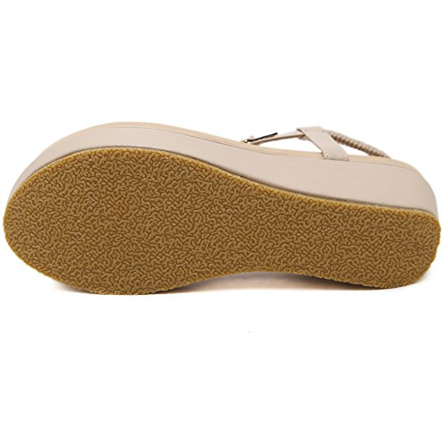 Hattie Women's Bohemian Flower Wedge Sandals Summer Beach Clip Toe Platform Shoes Apricot-A Bht4kjFNJ