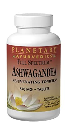 Planetary Herbals Ashwagandha Full Spectrum by Planetary Ayurvedics 570mg, Rejuvenating Tonifier, 120 Tablets