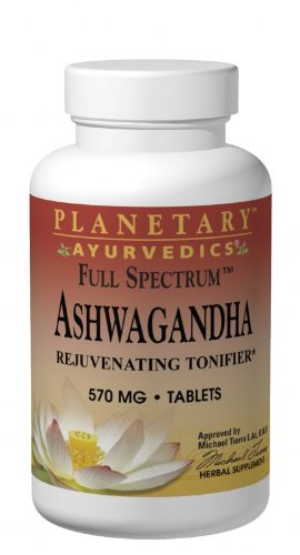 Planetary Herbals Ashwagandha Full Spectrum by Planetary Ayurvedics 570mg,  Rejuvenating Tonifier, 120 Tablets by Planetary Herbals