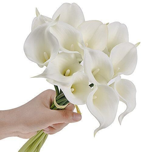 20pcs Calla Lily Bridal Wedding Bouquet head Latex Real Touch Flower Bouquets (Pure white)