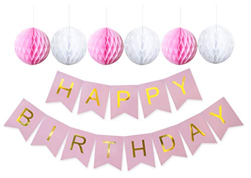 (Keira Prince Happy Birthday Banner, Pastel Pink on Pink Striped & Gold Party Decorations, Stylish, Trendy, Swallowtail Bunting Flag Garland (Pink, White,)