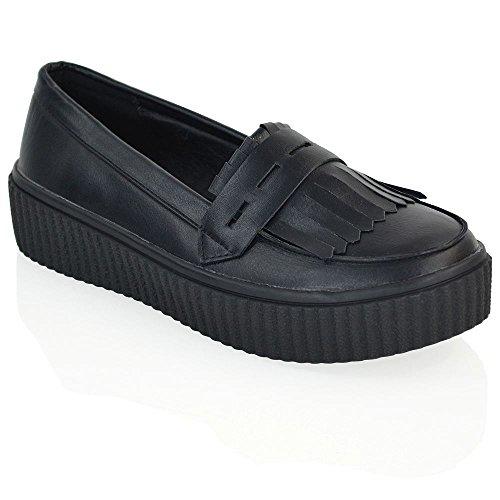 Essex Glam Womens Crêpe Platform Creeper Schoenen Zwart Synthetisch Leer