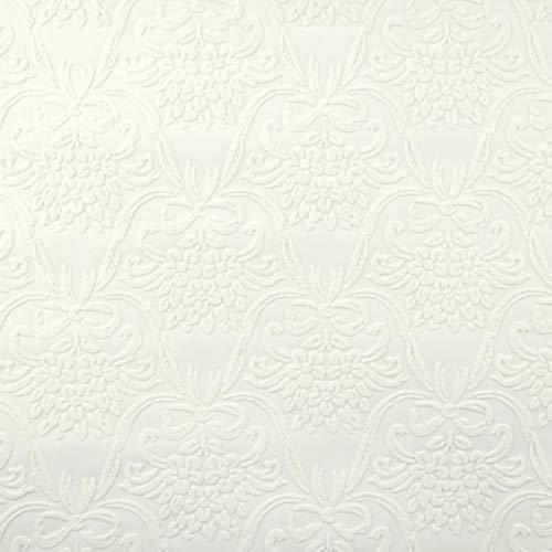 Renovator's Supply White Wallpaper Embossed Textured Vinyl Kensington Wall Decor Design 56 Square Feet ()