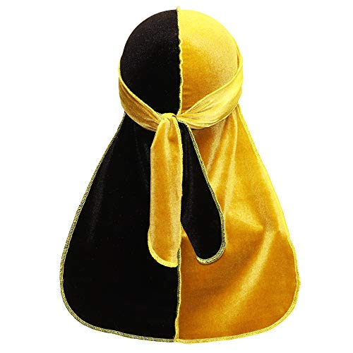 (VALSE Velvet Durags for Men Waves, 30+ Colors Two-Tone, Du-rag Extra Long Straps for Men)