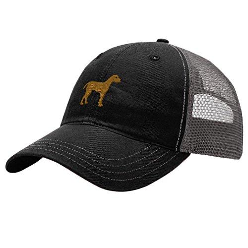 Speedy Pros Weimaraner Dog Style 2 Embroidery Design Richardson Cotton Front/Mesh Back Cap Black/Charcoal (Weimaraner Hat)