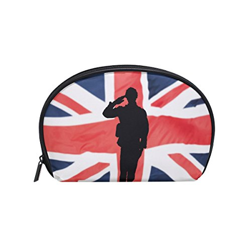 ALAZA British Flag Soldier Half Moon Cosmetic Makeup Toiletr
