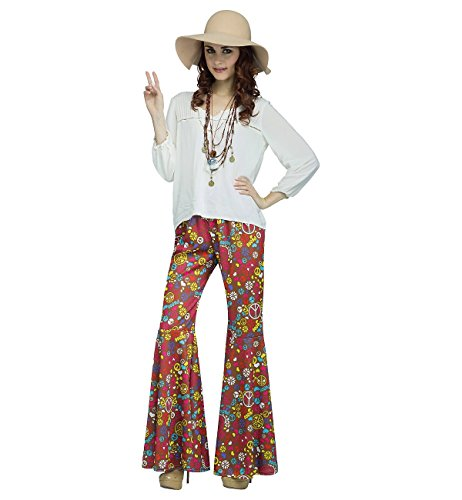 Fun World Women's Power Bell Bottoms Adult Costume, Multi, - Groovy Hippie Costume