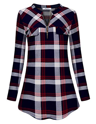 Relaxed Red Fit Tab - Diphi LiLi Blouse for Work Women's Relaxed Fit Plaid Long Sleeve Dressy Draped Comfort Tunics with Roll Tabs Casual Cute Print Turn Down Collar Tartan Checked Tops for Office Wine XX-Large