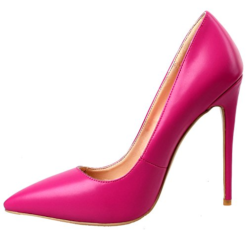 Toe 4 ZAPROMA Shoes Pumps PU Pointed Size US for Luxury High 15 Rose Red Women Heel Stilettos EwBw7g1q