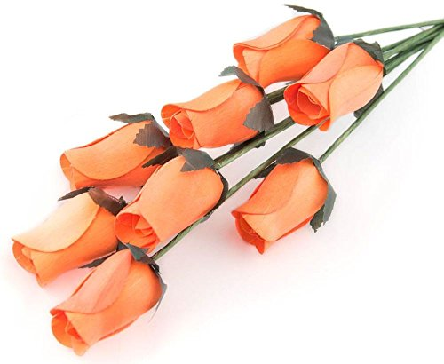 Orange Roses Bunch of 8 Closed Bud Wooden Roses For Crafts Custom Bouquets and other DIY Projects. Choose form Over 50 Colors