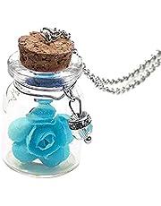 النساء لطيف البسيطة الزجاج زهرة العائمة أتمنى زجاجة قلادة قلادة مجوهرات الأزرق