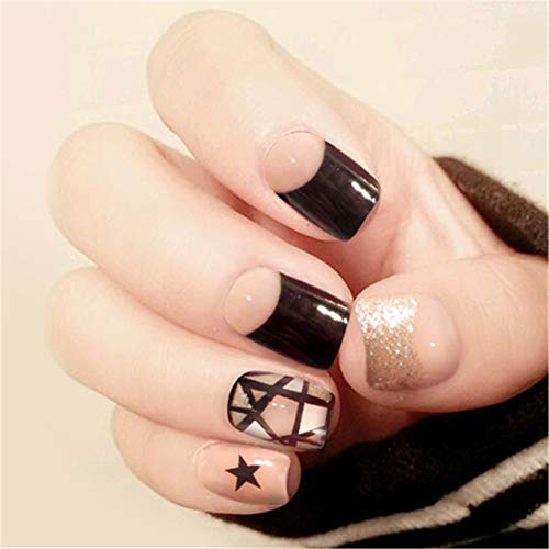 24Pcs False Nails, False Artificial Nails Short French Style with Glue for Nail Art Decoration