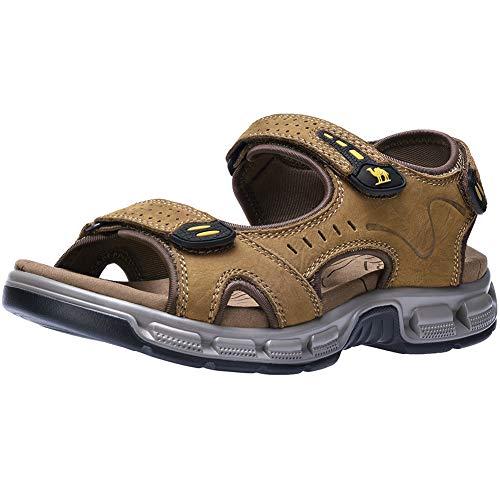 CAMEL CROWN Men Leather Sandals Open Toe for Outdoor Hiking Walking Beach Sports Fisherman Strap Sandal | Summer Waterproof ()