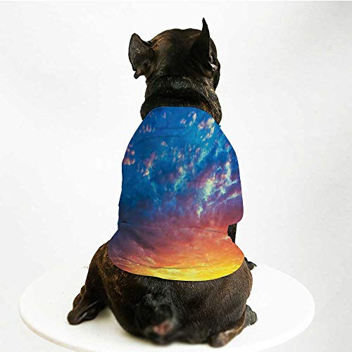 (YOLIYANA Yellow and Blue Soft Pet Suit,Dramatic Sky Sunset Scenic Cloudscape Idyllic Twilight Eco Picture for Cats and Dogs,S)